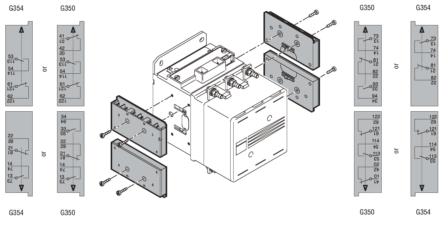 faston terminals auxiliary contacts for side mounting for b wiring diagram